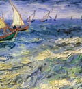 seascape at saintes maries de la mer, van gogh,
