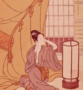 Woman Primping, Japanese, Artist Unknown