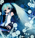 blue hatsune miku puti devil vocaloid