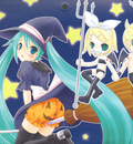 halloween hatsune miku kagamine len kagamine rin pumpkin vocaloid