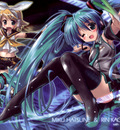 chibi hatsune miku kagamine rin komatsu eiji leek thighhighs vocaloid