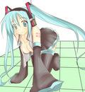 hatsune miku nyamo pixiv17701 open shirt skirt thighhighs twintails vocaloid