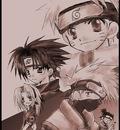 Naruto, Sasuke, Kakashi, Sakura, and Iruka