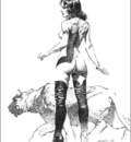 Boris Vallejo   bw womaninboots