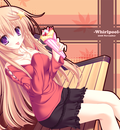 bench blonde hair meri chri mikagami mamizu purple eyes seiya mashiro skintight skirt