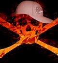 caveira pegando fogo
