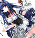blue eyes blue hair maid panties skirt skirt lift thighhighs underwear yukiwo